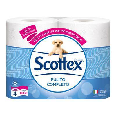 SCOTTEX CARTA IGIENICA 4 ROT.MAXI PULITO COMPLETO 3 VELI