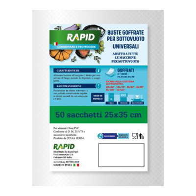 RAPID BUSTE GOFFRATE SOTTOVUOTO 25X35 PZ.50